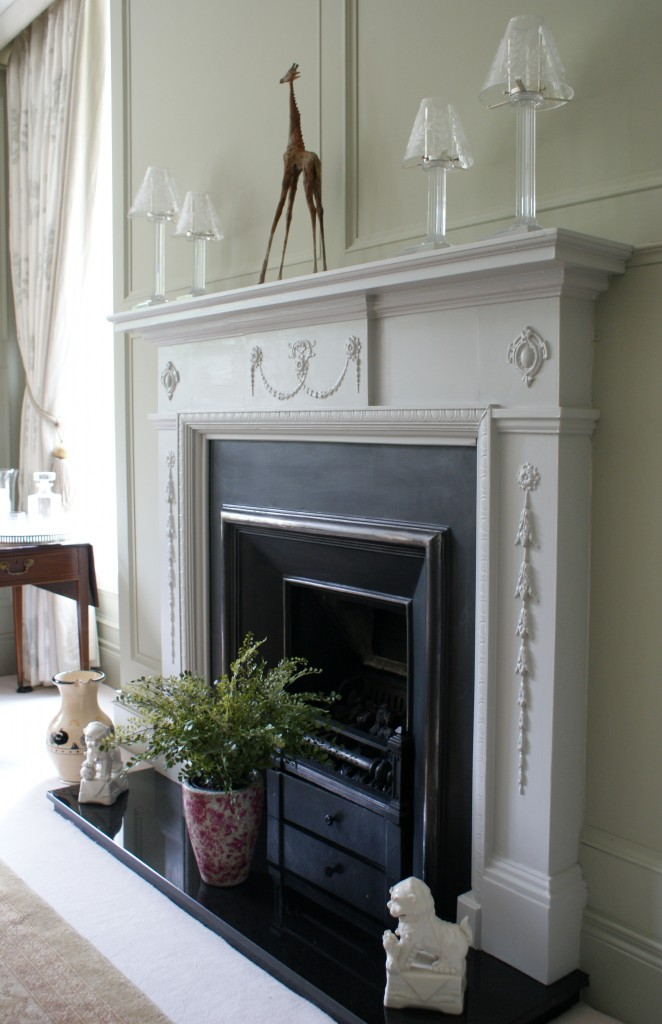 antique fireplace restored and hand painted
