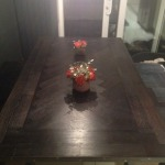 Finished Reclaimed Oak Parquet Table and Bench