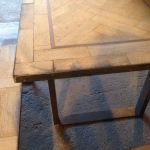 Reclaimed Oak Parquet Table and Bench