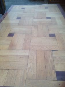 This is a sample board created from oak woodblock/parquet