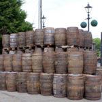 reclaimed wooden whiskey barrels