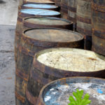 old wooden whiskey barrels