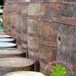 salvaged wooden whiskey barrels