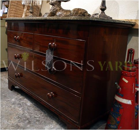 Walnut Marble Topped French Chest Of Drawers