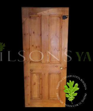 Traditional 4 Panel Reclaimed Pine Door – Dipped Yellow Pine Wax