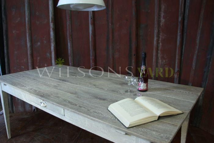 Oak Plank Topped Stretcher Table