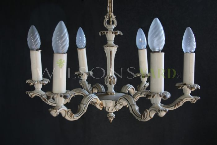 6 Arm Italian Painted Chandelier