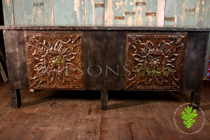 Zinc Paneled Bar Counter with Open Back