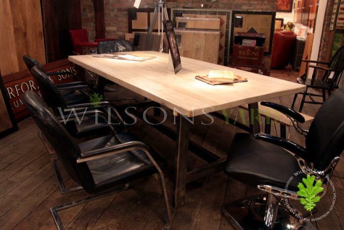 Industrial Style Kitchen/Dining Table with Reclaimed Bleached Top