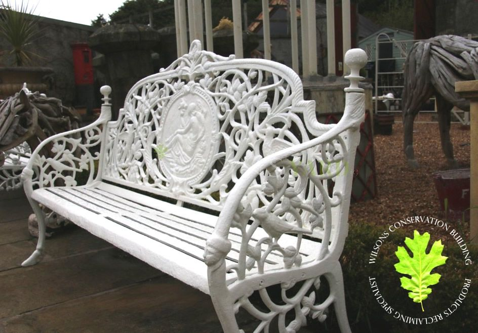 Pair Of Cast Iron Benches, Hand Painted Outdoor Benches