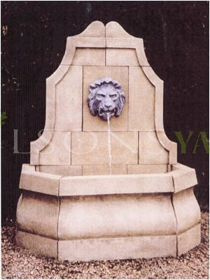 The Triton Collection - French Village Garden Fountain With Lion Head water Spout