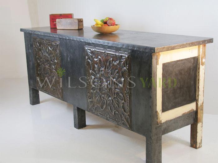 Zinc topped bar counter