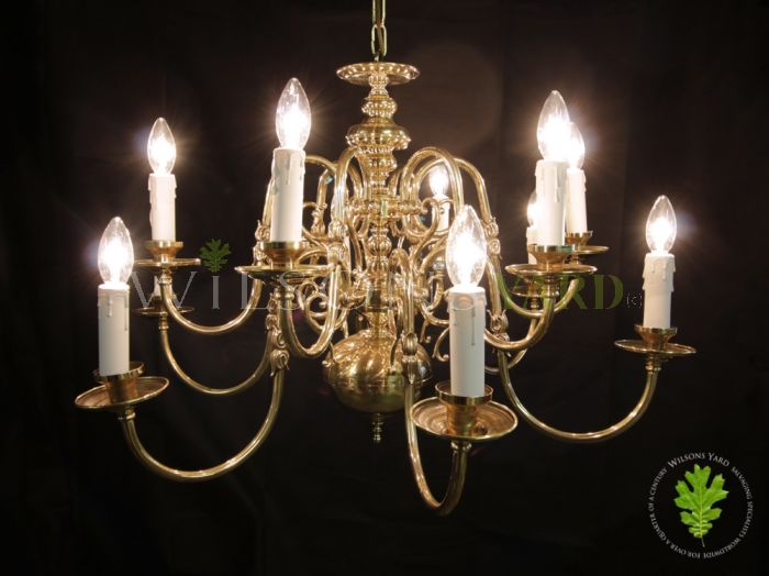 Restored and Polished Brass 2 Tier Flemish Chandelier