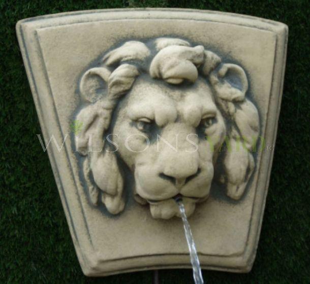 Coade Stone Lion Head garden feature
