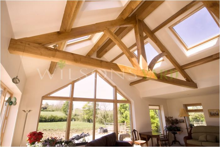 King post truss in Oak