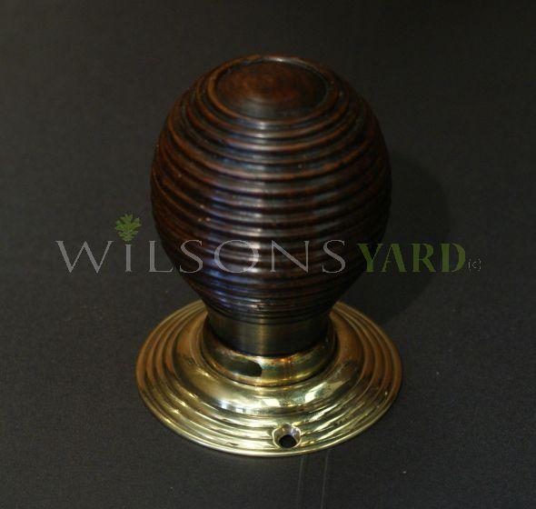 Beech Beehive Door Handle / Door Knob with Brass Back Plate