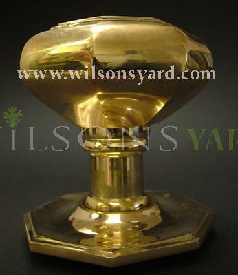 Large Brass Octagonal Centre Door Pull