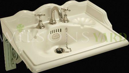 "22"" Washbasin Mixer Set With 3 Tap Holes- Antique White China."