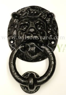 Medium Black Lion Cast Iron Door Knocker