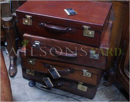 Original Vintage Leather Travel Suitcases