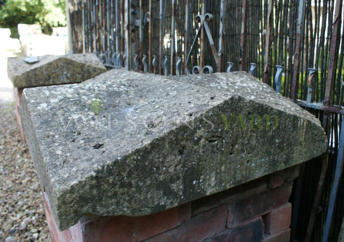 Pair of Lovely 19th Century Lincoln Stone 'Bishops Hat' Pillar Caps