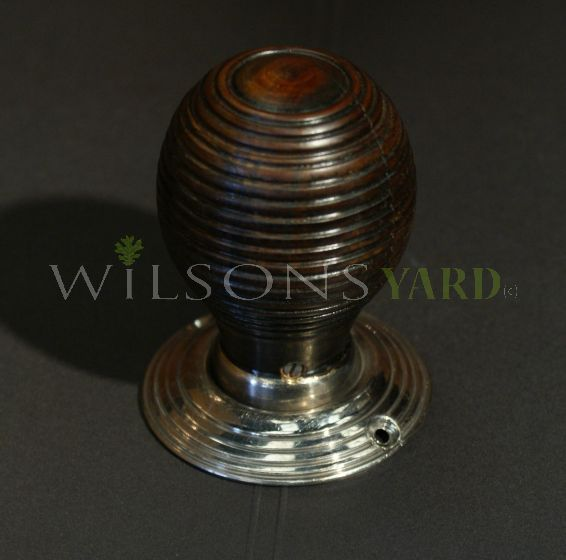 Hand made Beech Beehive Door Handles / Knobs with Nickel Back Plate