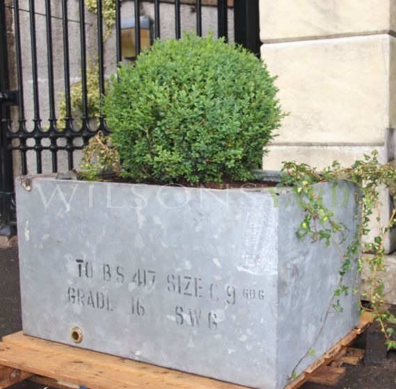 Pair of galvanised garden tank planters