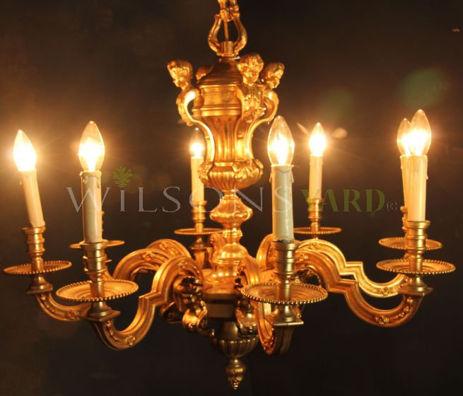 Exceptional Cast Brass Chandelier