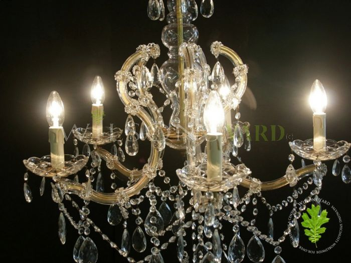 Beautiful Italian Marie Therese Chandelier with a Bird Cage Style Glass Frame