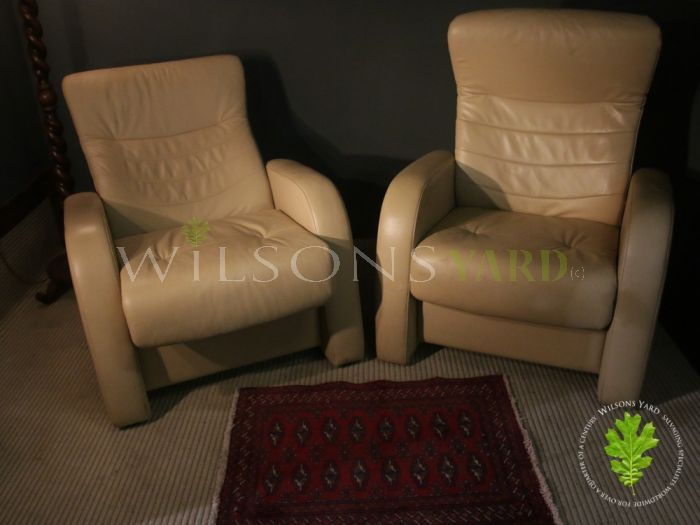 Pair of Funky Designer Reclining Cream Leather Armchairs