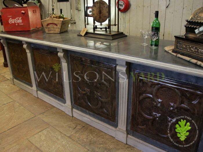 Zinc Topped Counter with 4 Decorative Tin Panels