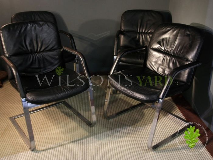 Set of 4 Leather & Chrome Dining Chairs