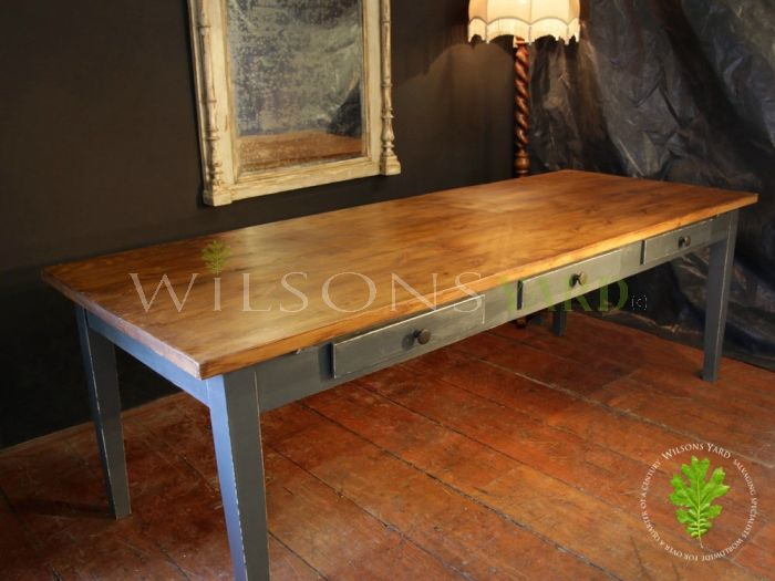 Large Wooden Topped Dining Table with Blue Distressed Legs and 6 Drawers