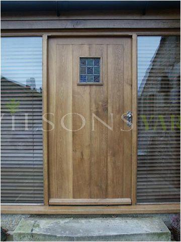 Cottage planked door & frame with side light in solid oak