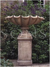 The Triton Collection - Small Scalloped Shell Urn on Medium Plinth