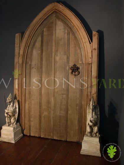 Fantastic 19th Century Gothic Door in Frame Complete with Original Locks and Hardware