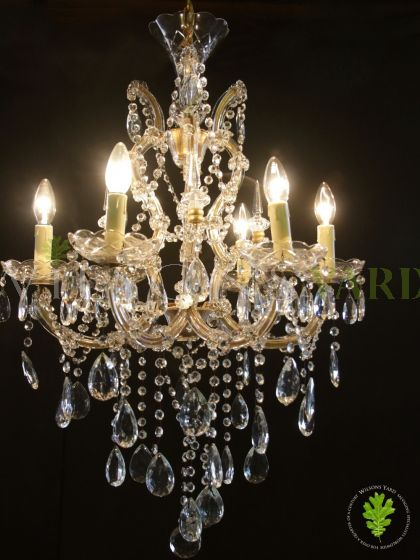 Pair of Italian Marie Therese Chandeliers with Glass Bobeche Drip Pans and Icicle Pins