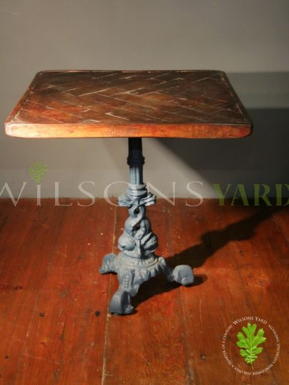 Small Parquet Topped Table with Decorative Cast Iron Single Base