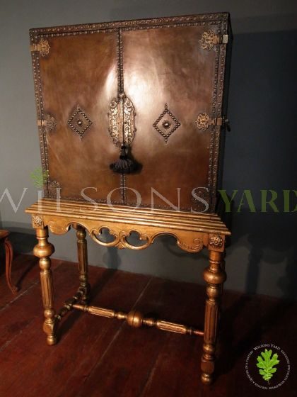 Antique Leather and Brass Studded Cabinet