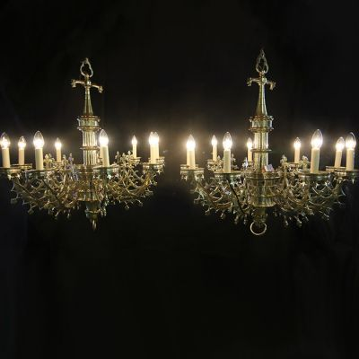Stunning pair of restored antique Gothic chandeliers.