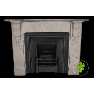 Victorian style carved corbel fireplace in Italian White Carrara Marble