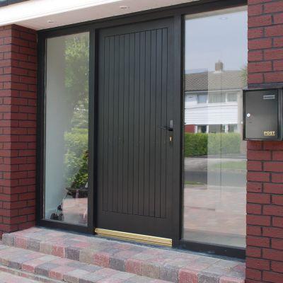Comtemporary plank door,  frame & sidelight