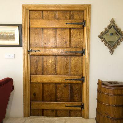 Braced And Beaded Cider Mill Door In Solid Oak