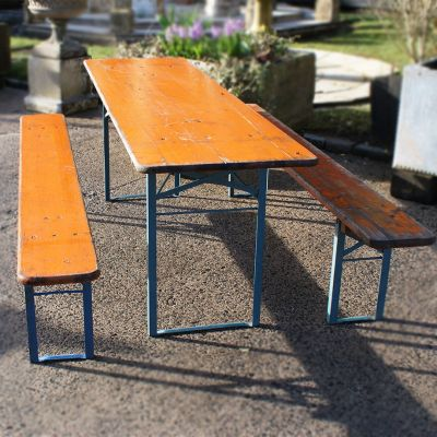 German beer keller table with two benches