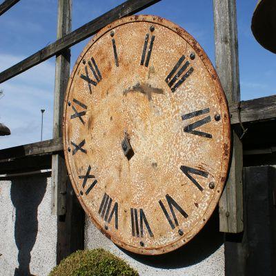 Large vintage circular metal garden clock