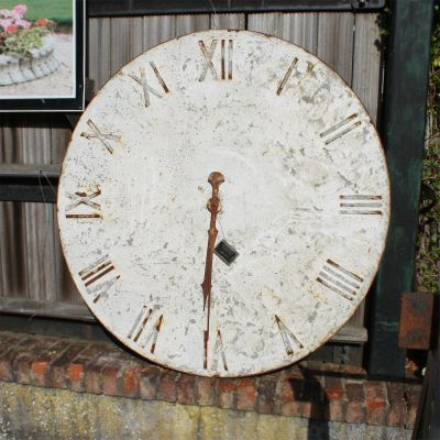 Round painted metal clock face