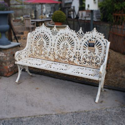 Large decorative triple arch Gothic cast iron bench sold inv no: 107279