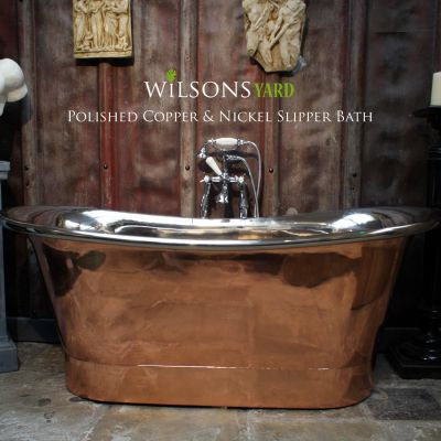 Copper Bateau Bath With Polished Nickel Interior