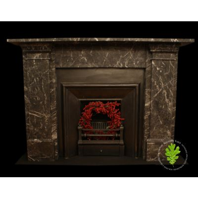 Early 19th century Victorian style Italian Grigio Carnico marble fireplace with classical lines