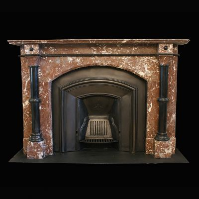 A splendid Edwardian fireplace in French rouge marble